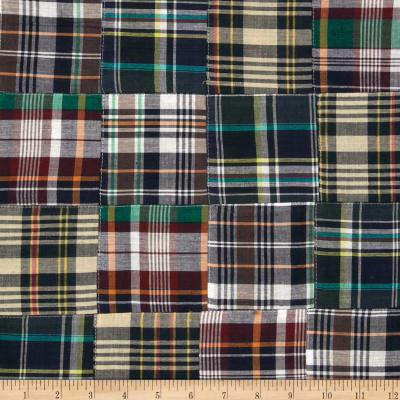 Madras Plaid Patchwork Navy/White/Green