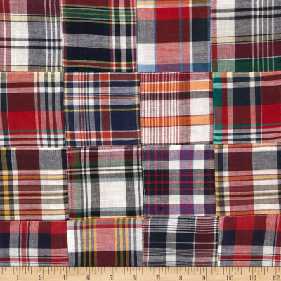 Madras Plaid Navy/White/Gold/Red
