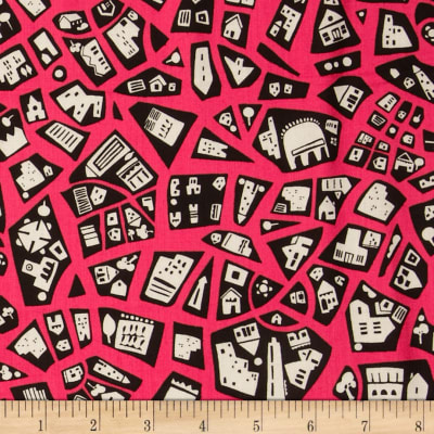City Scenes Retro Patchwork Hot Pink