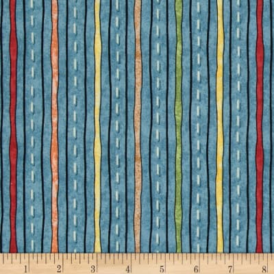 QT Fabrics Wild Things Stripe Blue