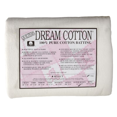 "Quilter's Dream Natural Cotton White Select Batting (121"" x 93"") Super Queen"