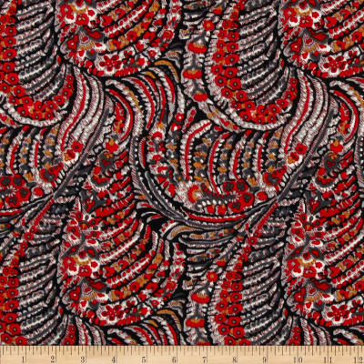 Brazil Stretch ITY Jersey Knit Abstract Red/Multi