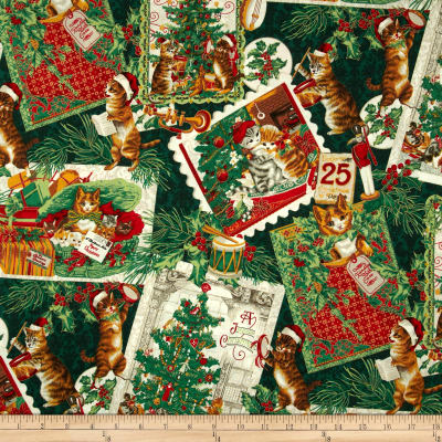 Christmas Kitties Musical Cats Metallic Green/Gold