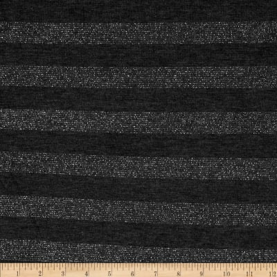 Stretch Sparkle Hatchi Knit Stripes Charcoal
