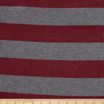 Stretch Hatchi Sweater Knit Thick Stripe Grey/Red