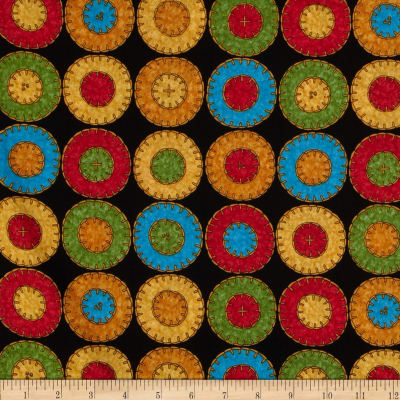 Floral Fancies Penny Rug Black/Red