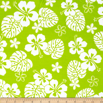 Aloha Flannel Tropical Floral Lime