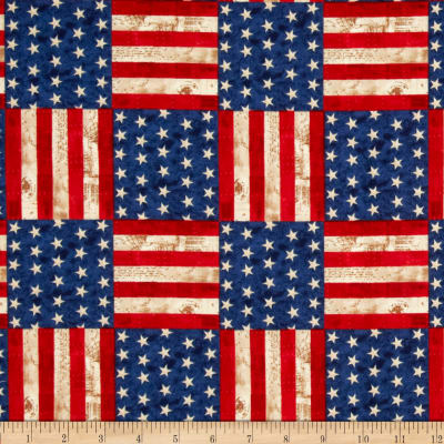 America The Beautiful Flag Blocks Americana