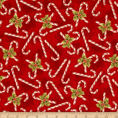 Holly Jolly Christmas Metallic Candy Cane Crimson