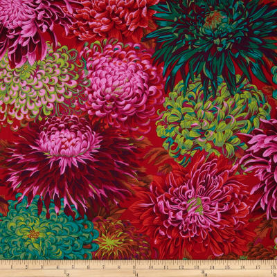 Kaffe Fassett Collective Japanese Chrysanthemum Scarlet
