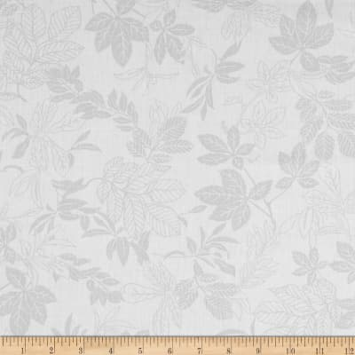 "108"" Wide Quilt Back Modern Leaf White/Gray"