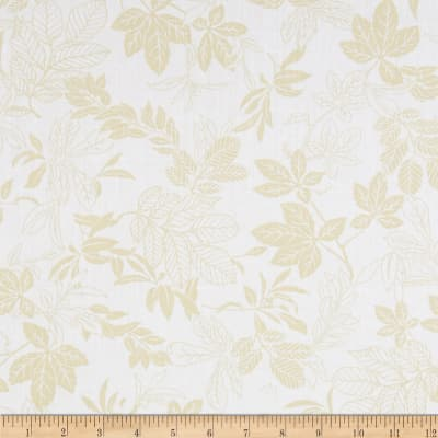 "108"" Wide Quilt Back Modern Leaf White/Tan"