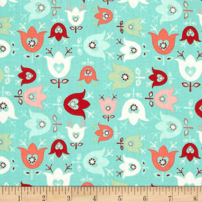 Folklore Blooming Tulips Turquoise