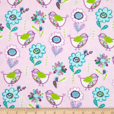 Flannel Birds & Flowers Pink