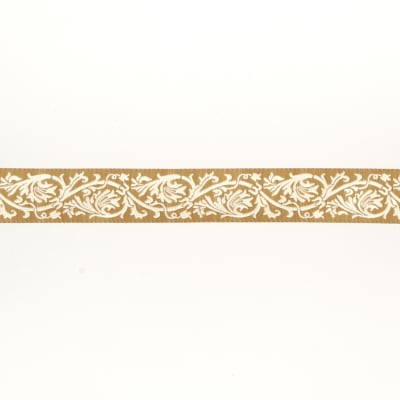 "7/8""French General Ecru Scroll on Beige"