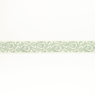"7/8""French General Ecru Scroll on Dusty Green"