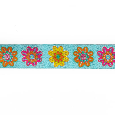 "1 1/2""Sue Spargo Flowers on Turquoise"