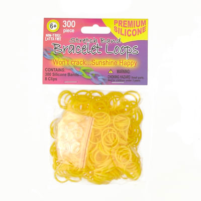 Silicone Band Loops 300/Pkg W/8 Clips-Neon Yellow