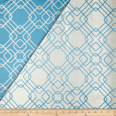 World Wide Rigel Metallic Geo Satin Jacquard Cerulean