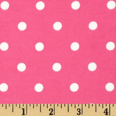 Cozy Cotton Flannel Dots Hot Pink