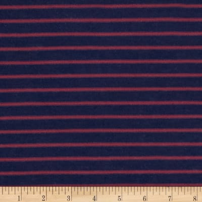 Yarn Dyed Jersey Knit Stripes Navy/Purple