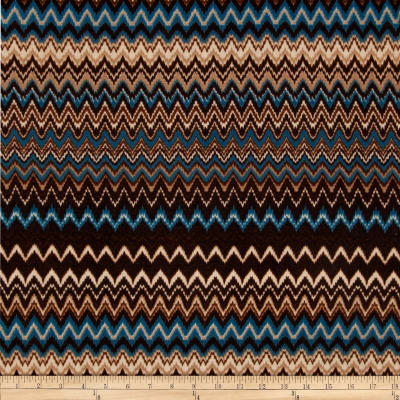 Stretch Sweater Knit Zig Zag Brown/Tan/Blue