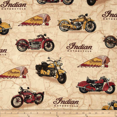 Classic Indian Motorcycles & Logo Map Tan