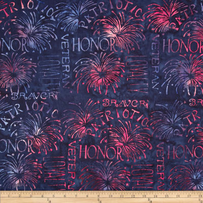 Island Batik in Honor Batik Patriotic Words Navy/Red