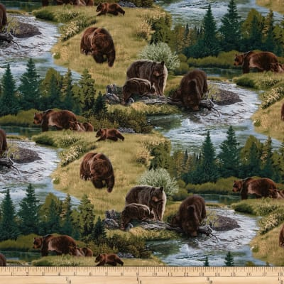 A Wild Life Allover Brown Bears Green