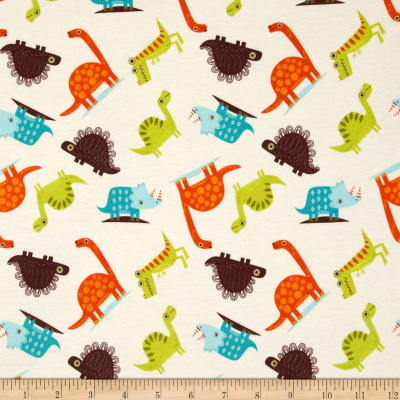 Riley Blake Cotton Jersey Knit Dinosaur Toss Cream