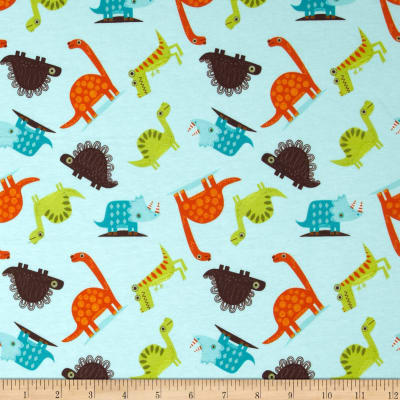 Riley Blake Cotton Jersey Knit Dinosaur Toss Blue