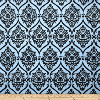 Minky Crown Damask Blue/Black