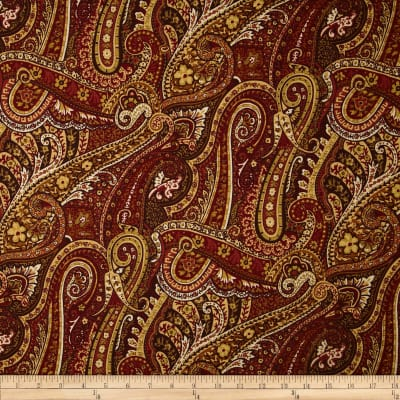 Duralee Pacific Fish Paisley Rouge