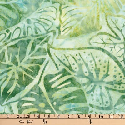 Artisan Batiks Totally Tropical Fern Leaves Seafoam