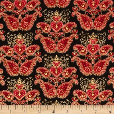 Sweet Heart Metallics Paisley Medallion Red