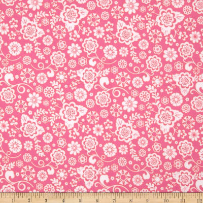 Riley Blake Fancy Free Flannel Floral Pink