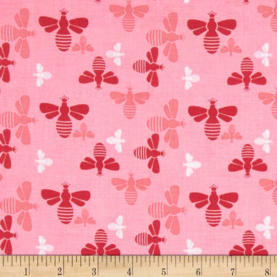 Riley Blake Flower Patch Bees Pink
