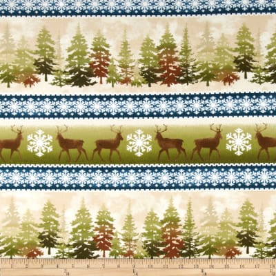 Wonder of Winter Flannel Repeating Stripe Blue