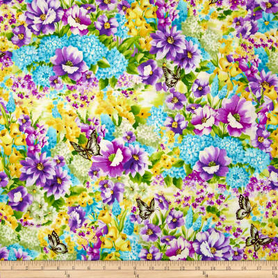 Fabric Freedom Butterfly Meadow All Over Purple