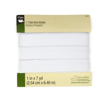 "Fold-Over Elastic 1""X7yd-White"