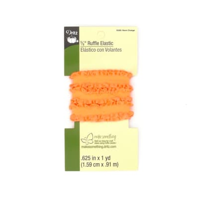 "Ruffle Elastic 5/8""X1yd-Neon Orange"