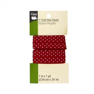 "Fold-Over Elastic 1""X1yd-Red Dot"