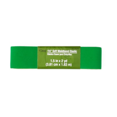 "Soft Waistband Elastic 1-1/2""X2yd-Green"