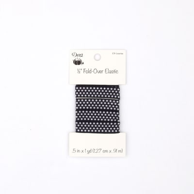 "Small Dots Fold Over Elastic 1/2"" X 1 yd Licorice"