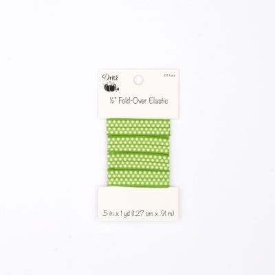 """Small Dots Fold Over Elastic 1/2"""" X 1 yd Lime"""