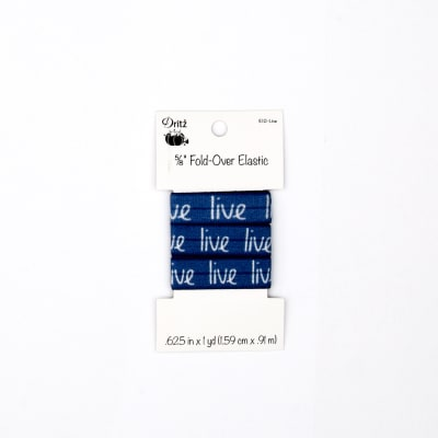 "Inspirational Words Fold Over Elastic 5/8"" X 1 yd Live Blue"