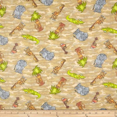 Comfy Flannel Tossed Jungle Animals Camo Beige