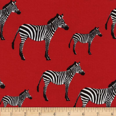 Timeless Treasures Zuzu Zebras Red