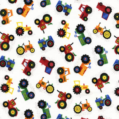 Timeless Treasures Little Farm Tractors White