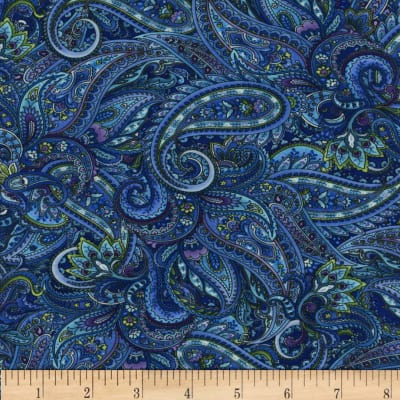 Timeless Treasures Belize Paisley  Blue
